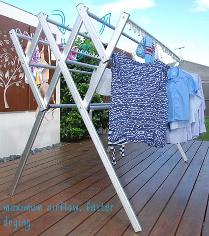 The drying rails on Hanging Stuff drying rack are spaced further apart than traditional clothes airers to allow for maximum airflow