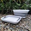 Collapsible foldable washing baskets white and grey